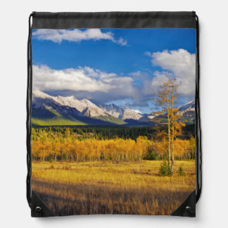 Blue skies and clouds above a meadow drawstring bags