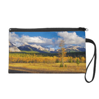 Blue skies and clouds above a meadow wristlet purses