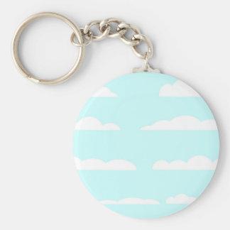 Blue Skies Background Basic Round Button Key Ring