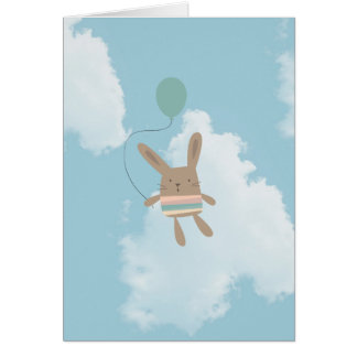 Blue Skies Clouds Bunny Greeting Card