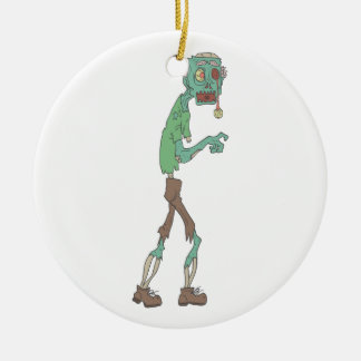 Blue Skinned Creepy Zombie With Rotting Flesh Outl Ceramic Ornament