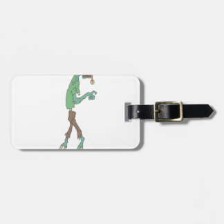 Blue Skinned Creepy Zombie With Rotting Flesh Outl Luggage Tag
