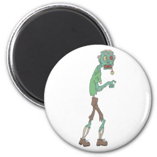 Blue Skinned Creepy Zombie With Rotting Flesh Outl Magnet