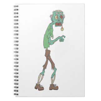 Blue Skinned Creepy Zombie With Rotting Flesh Outl Notebook