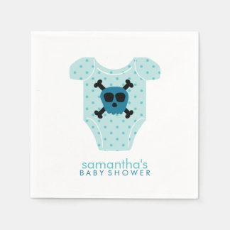 Blue Skull and Bones Baby Outfit Baby Shower Paper Napkin