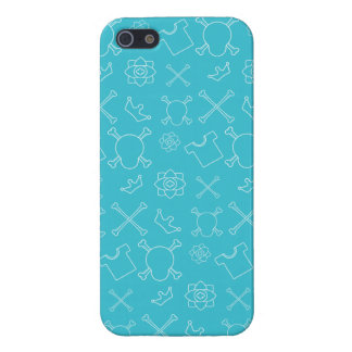 Blue Skull and Bones pattern iPhone 5/5S Cases