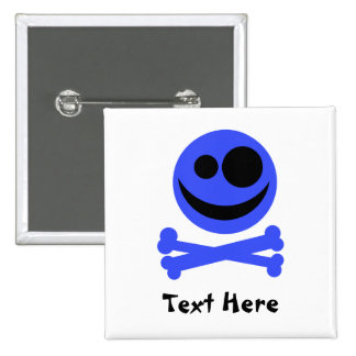 Blue Skull and Crossbones. 15 Cm Square Badge