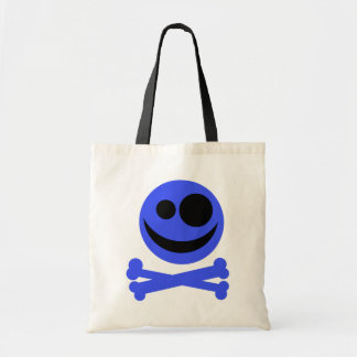 Blue Skull and Crossbones. Canvas Bags