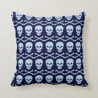 Blue Skull and Crossbones Throw PIllow