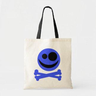 Blue Skull and Crossbones. Tote Bag