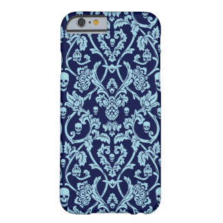 Blue skull damask pattern barely there iPhone 6 case