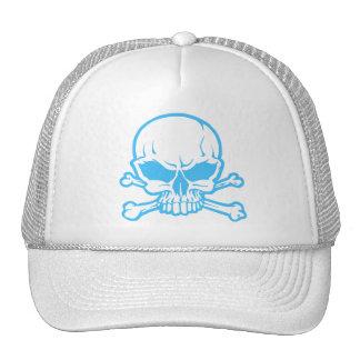 blue skull head with crossbones trucker hats
