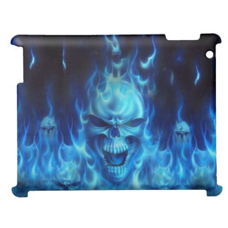 blue skull head with flames case for the iPad