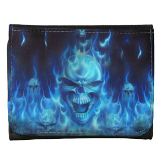 blue skull head with flames leather wallets