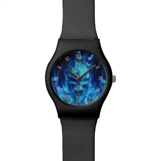 blue skull head with flames wrist watch