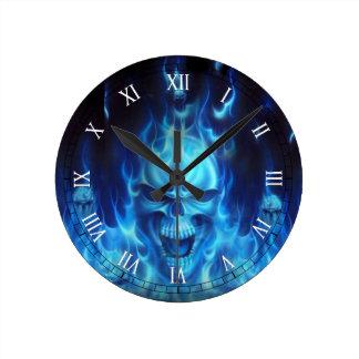 blue skull head with flames wallclock