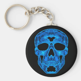Blue Skull Horror Mask Basic Round Button Key Ring
