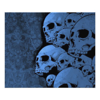 Blue skull  pattern photographic print