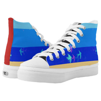 Blue sky and birds High-top sneakers