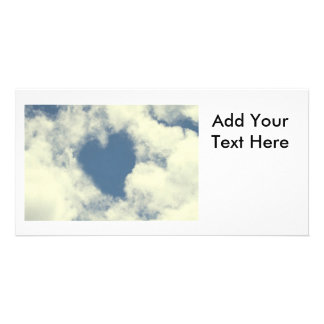 Blue Sky and Clouds Hearts Photo Card Template