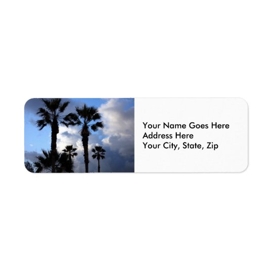 Blue Sky and Palm Trees Return Address Label