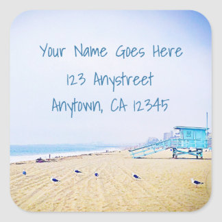 Blue sky and sandy beach photo custom address square sticker