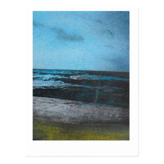 Blue sky and sea. Chalk on photocopy. Postcard