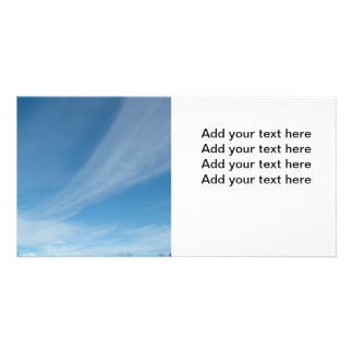 Blue sky and white clouds personalized photo card