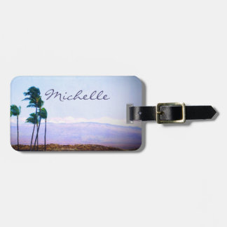 "Blue sky beach photo ""your name here"" luggage tag"