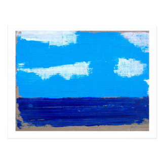 Blue sky, blue sea, few clouds postcard