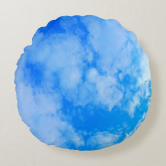 blue sky Brushed Polyester Round Throw Pillow