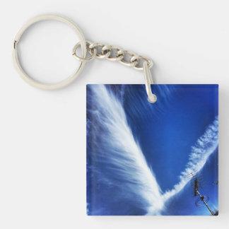 Blue sky cloud design Single-Sided square acrylic key ring