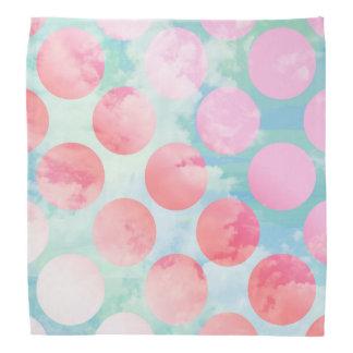 Blue Sky Clouds, Pink Dots Bandana