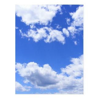Blue sky clouds postcard