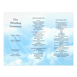 Blue Sky Clouds Tri-fold Wedding Program 21.5 Cm X 28 Cm Flyer