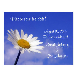 Blue Sky Daisy Save the Date Wedding Postcard