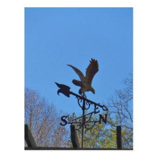 Blue sky, Eagle and Arrow Weather vane Postcard