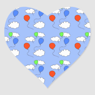 blue sky, free balloons heart sticker