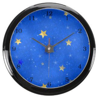 Blue Sky Golden Stars Aqua Clock