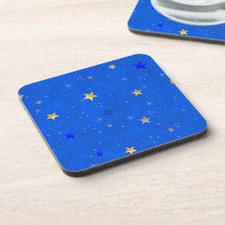 Blue Sky Golden Stars Drink Coaster