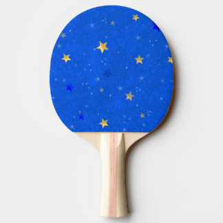 Blue Sky Golden Stars Ping-Pong Paddle