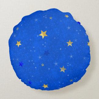 Blue Sky Golden Stars Round Pillow