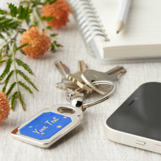 Blue Sky Golden Stars Silver-Colored Rectangle Key Ring