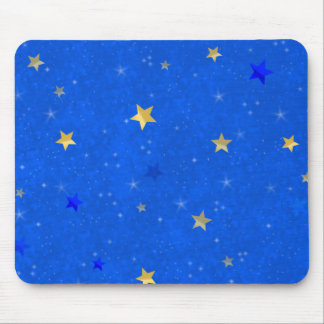Blue Sky Golden Stars Mouse Pad