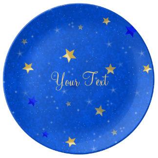 Blue Sky Golden Stars Porcelain Plate