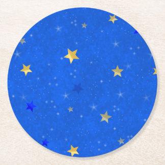 Blue Sky Golden Stars Round Paper Coaster