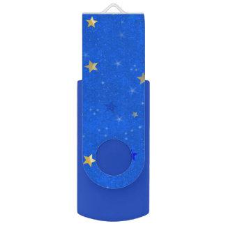 Blue Sky Golden Stars Swivel USB 2.0 Flash Drive