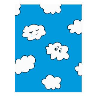 Blue Sky Happy Funny Clouds Postcard