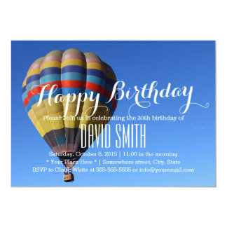 Blue Sky Hot Air Balloon Birthday Party Card