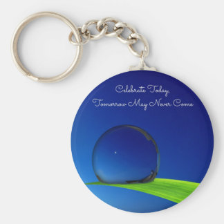 Blue Sky Moon In Dew Drop Celebrate Quote Basic Round Button Key Ring